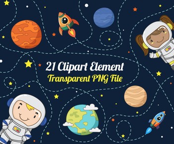 Outer Space and Planets Clipart Set.1.