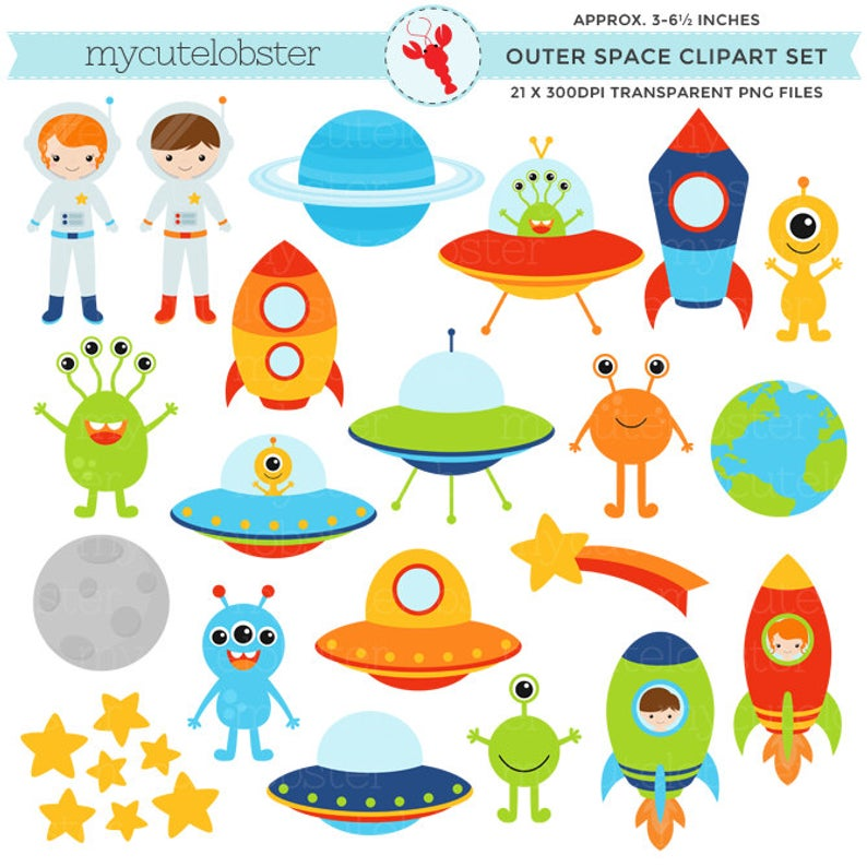 Outer Space Clipart Set.