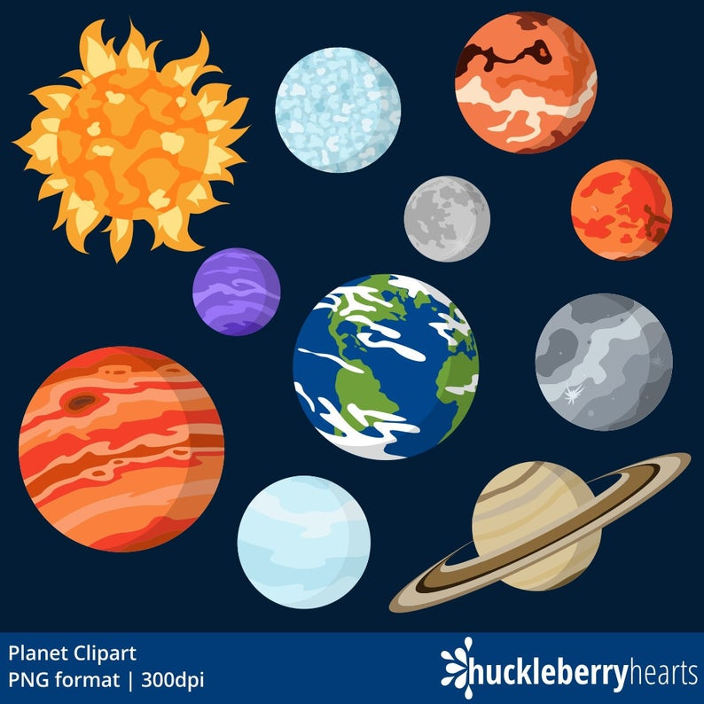 Planet Clipart, Outer Space Clipart, Planet Graphics, Printable, Commercial  Use.