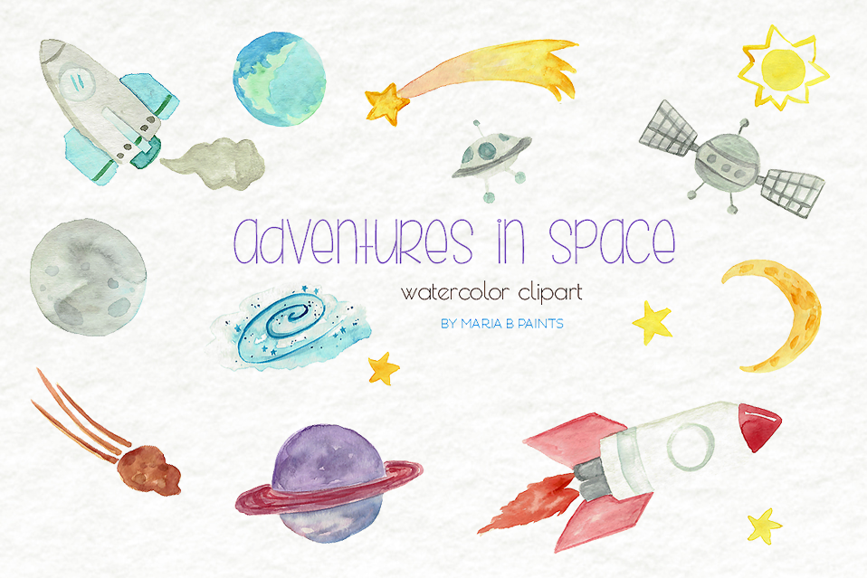 Outer Space Watercolor Clipart Set.