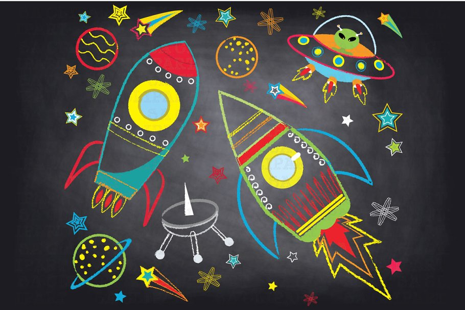 Chalkboard Outer space clipArt.