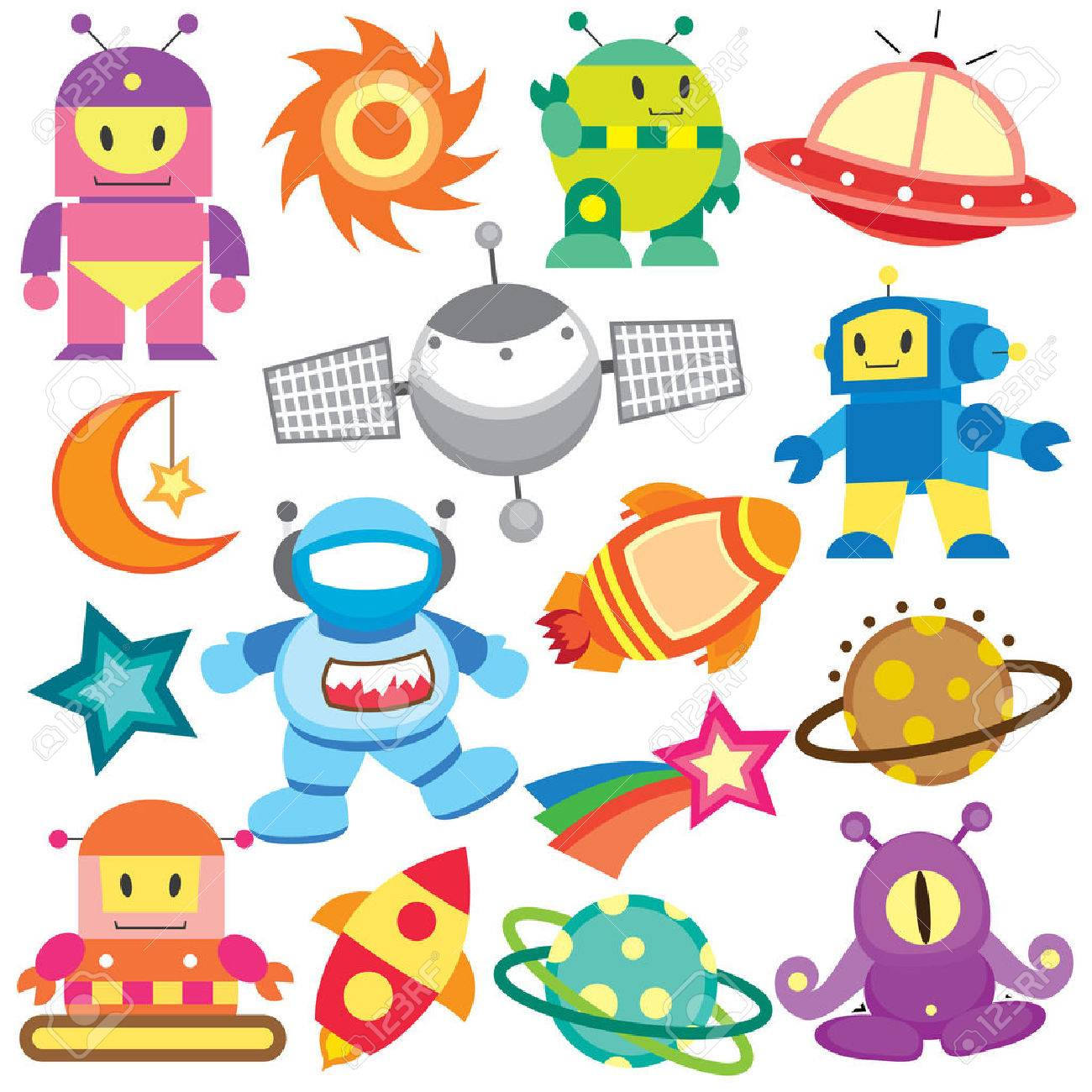 outer space and robot clip art set.