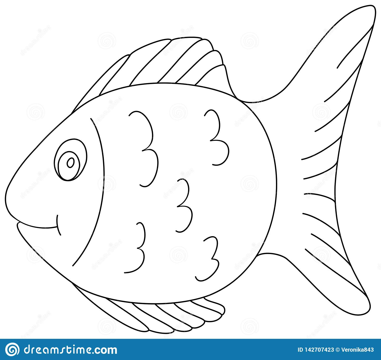 Fish Coloring Book Page 2. Outline Clipart Stock Vector.