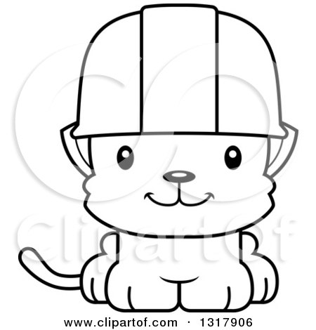 Animal Lineart Clipart of a Cartoon Black and White Cute Happy.