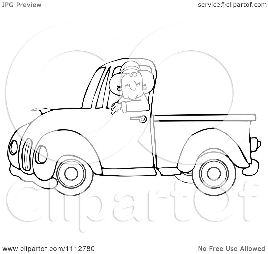 Clipart Outlined Cowboy Driving A Blue Pickup Truck.
