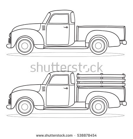 Pickup Truck Outline Stock Images, Royalty.