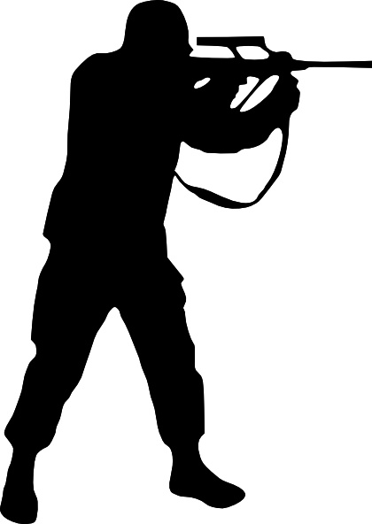 Soldier Silhouette clip art Free vector in Open office drawing svg.