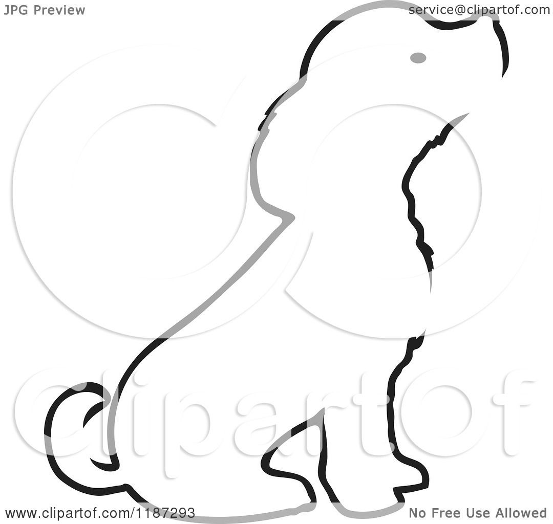 Cartoon of a Sketched Black and White Outline of a Sitting Puppy.