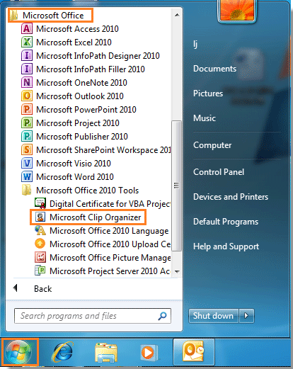 Clipart Outlook 2010.