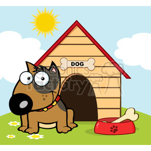 12820 RF Clipart Illustration Smiling Brown Bull Terrier With A Bone In His  Dish Outside His Dog House clipart. Royalty.