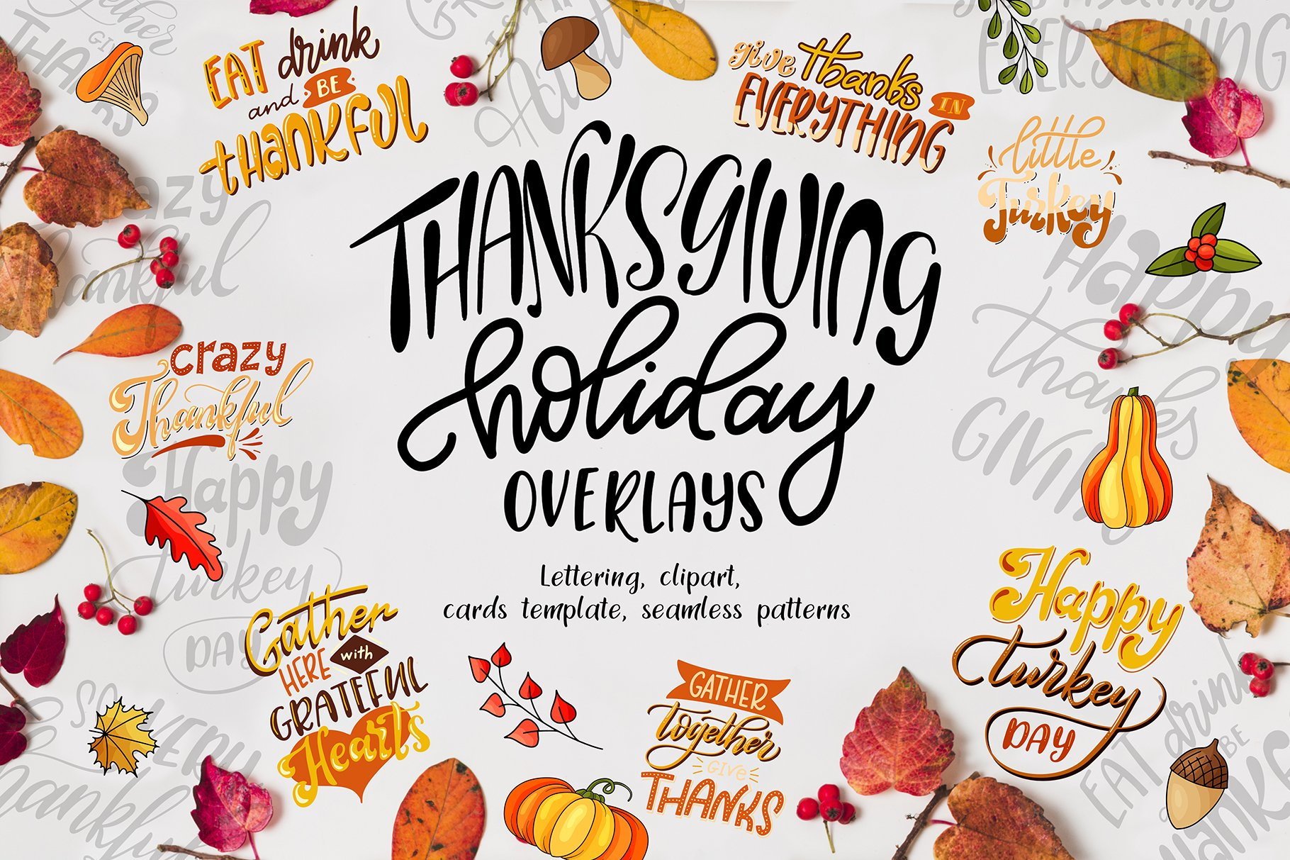 Thanksgiving holiday overlay+clipart.