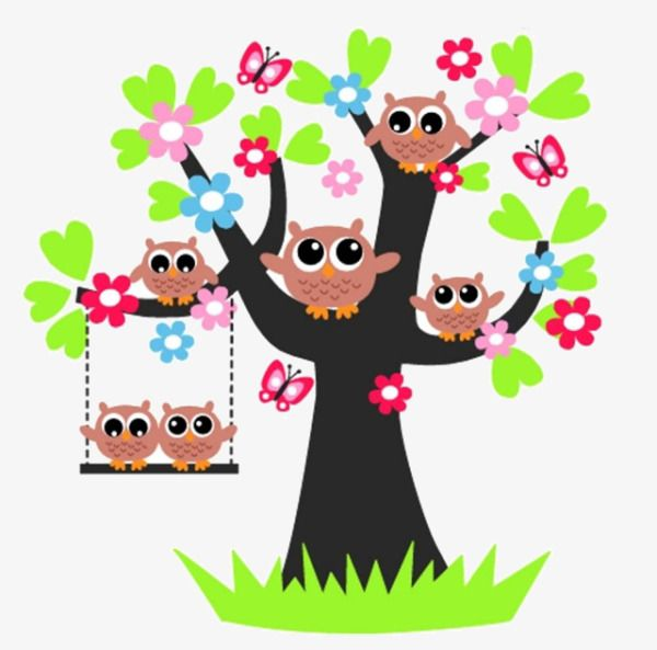 Cartoon Tree Owl, Tree Clipart, Owl Clipart, Cartoon Clipart.
