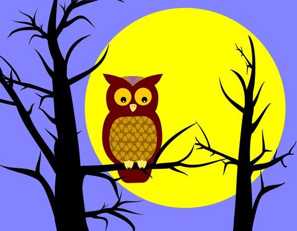 Owl In Tree Clip Art.
