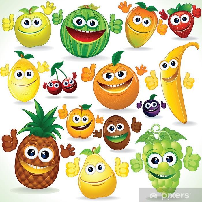 Fototapeta winylowa Śmieszne kreskówki owoce. Kolorowe clipart.
