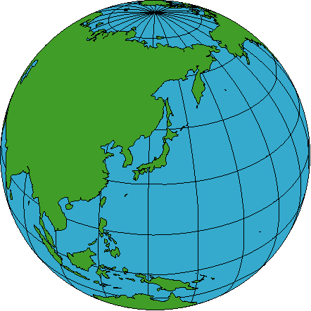 Japan and Pacific Global Map.