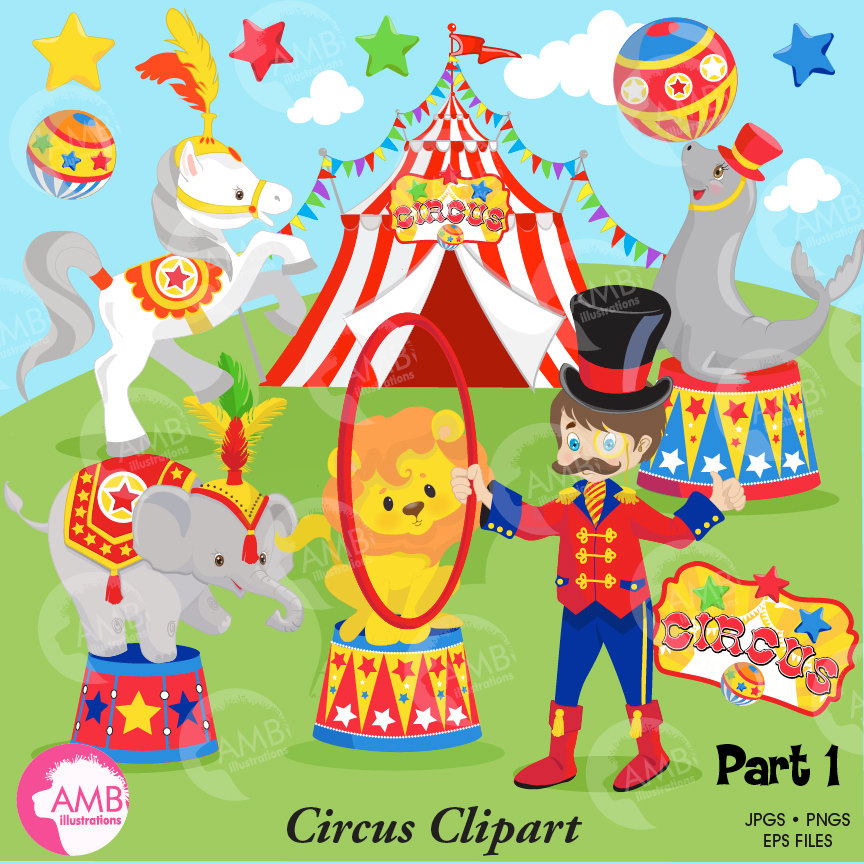 Circus Clipart pack, lion, seal, horse, elephant, Ringmaster, Elephants,  Clowns clipart, commercial use, AMB.