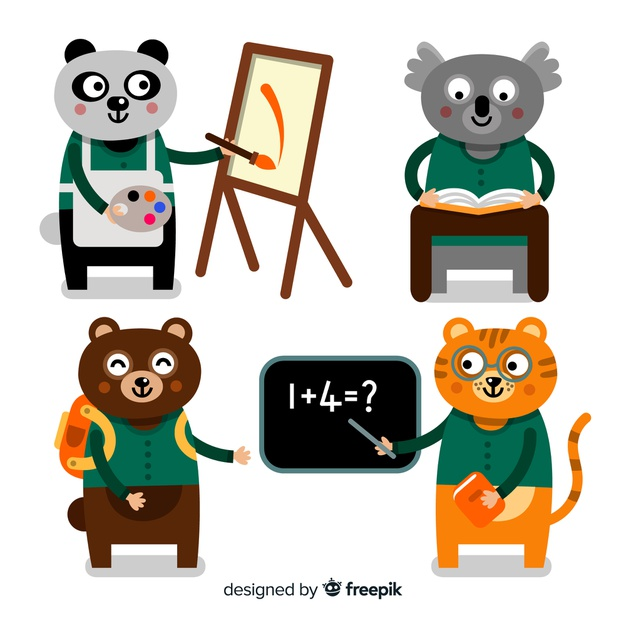 Back to school animal pack Vector.