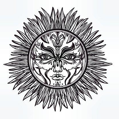 Ornate romantic pagan sun symbol Clipart Image.
