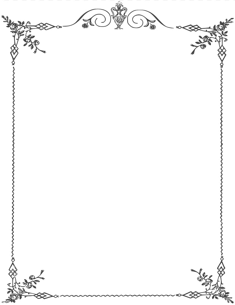 White floral frame illustration, Borders and Frames Black.