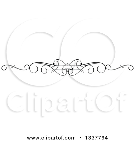 Clipart of a Black and White Ornate Rule Page Border Design.