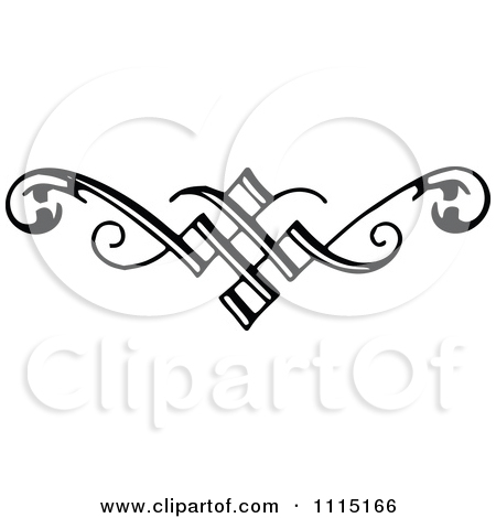Clipart of a Vintage Black and White Border.