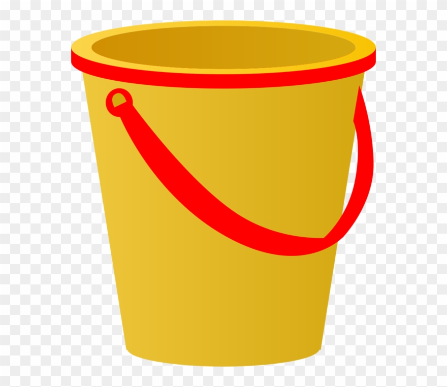 Yellow Sand Pail With Red Accents Vector Clip Art.