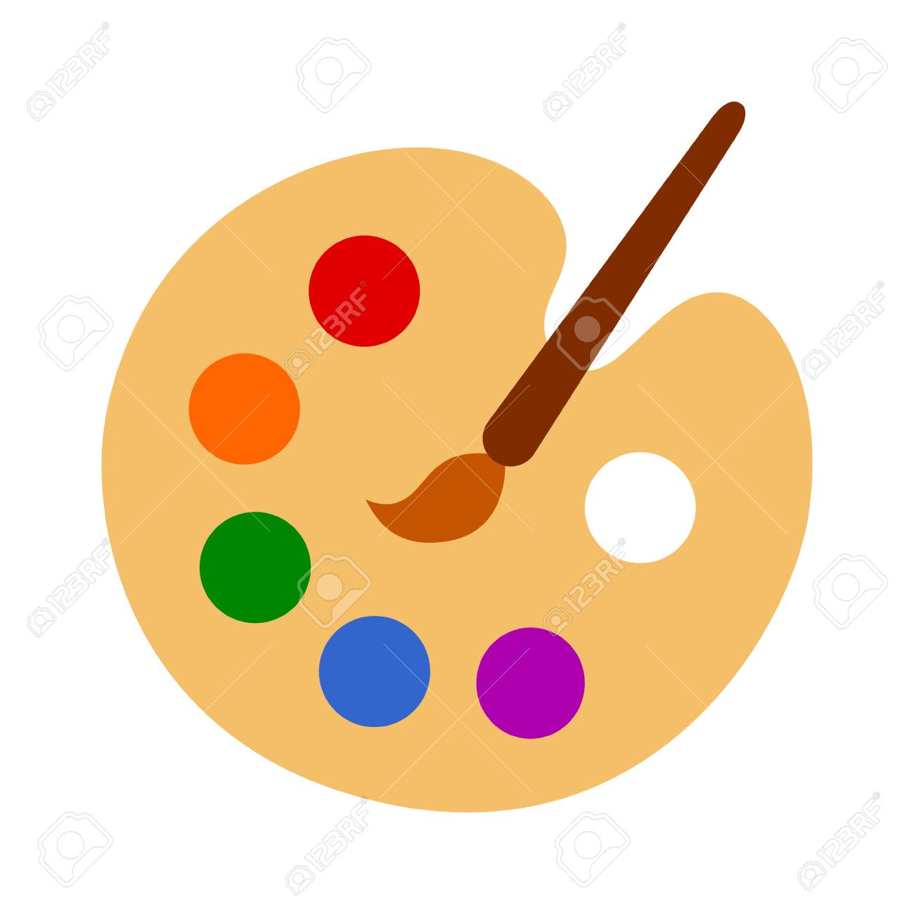 Color palette with colorful paint swatches and paint brush /...