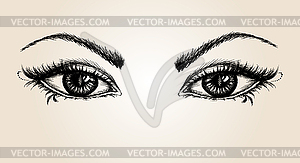 Pair of eyes, hand drawing.