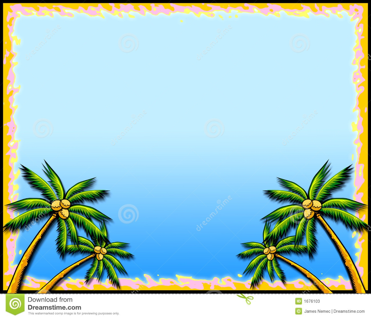 Tropical Palm Tree Clipart Border.
