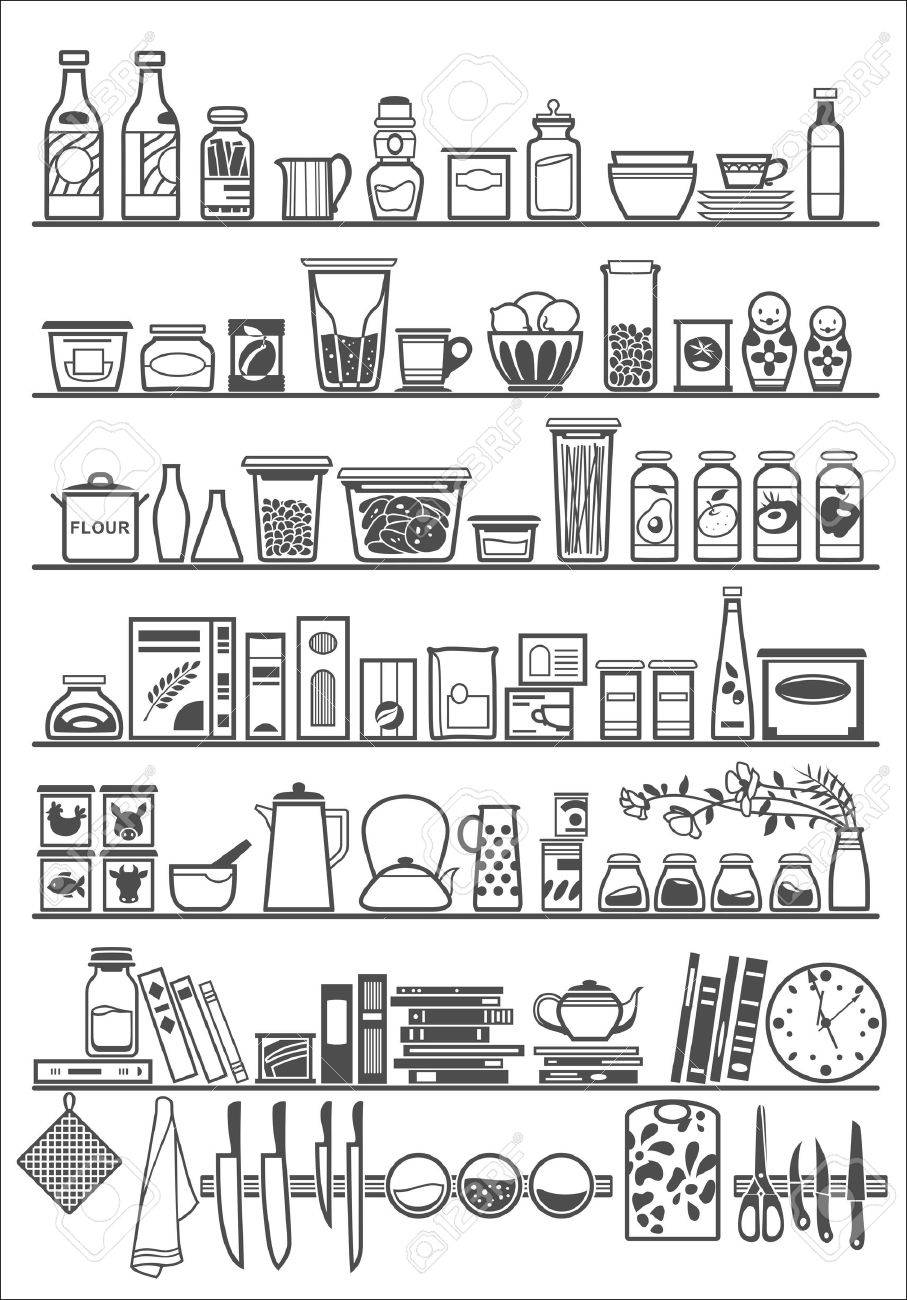 kitchen or pantry shelves.