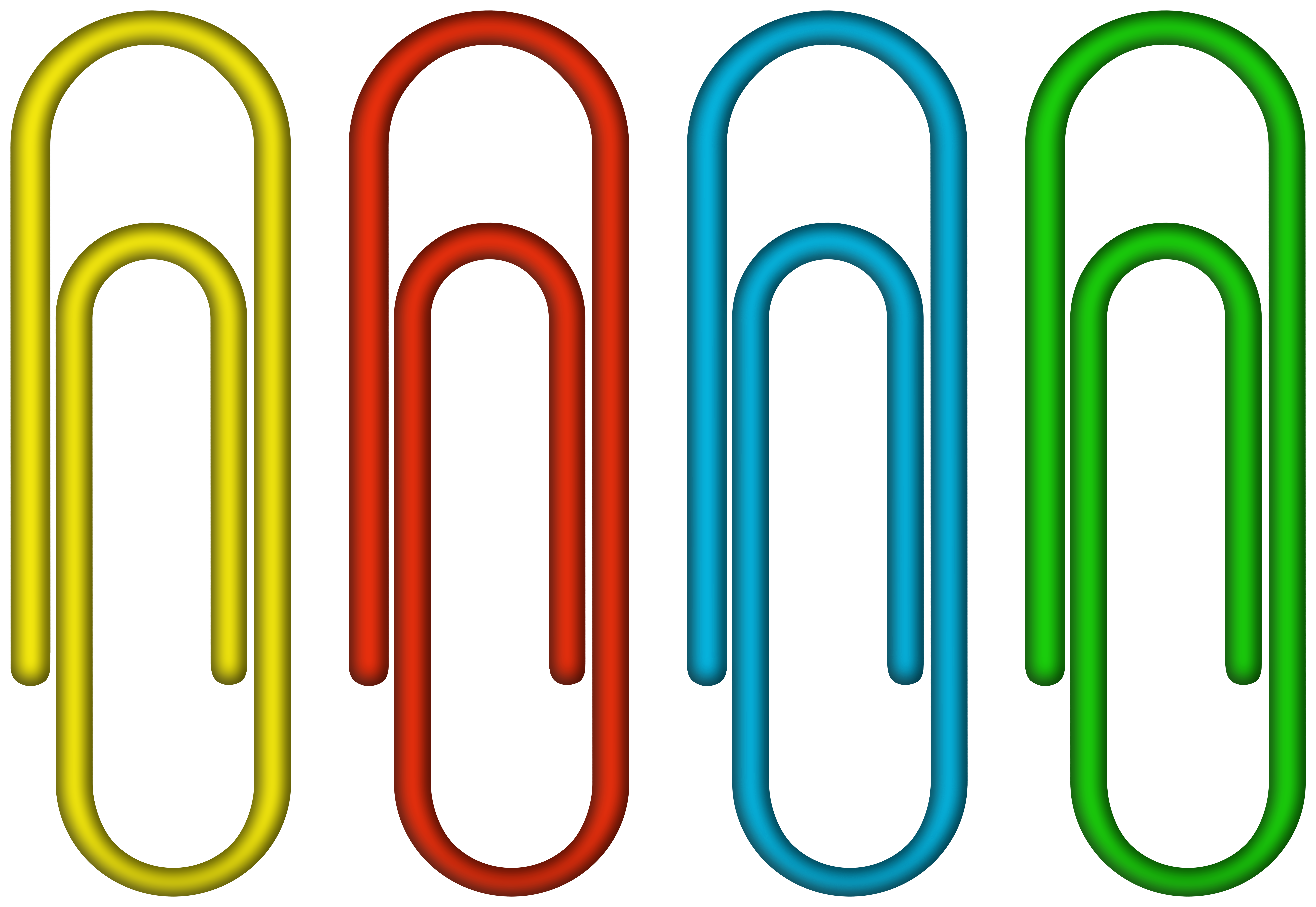 Colorful Paper Clips PNG Clipart Image.