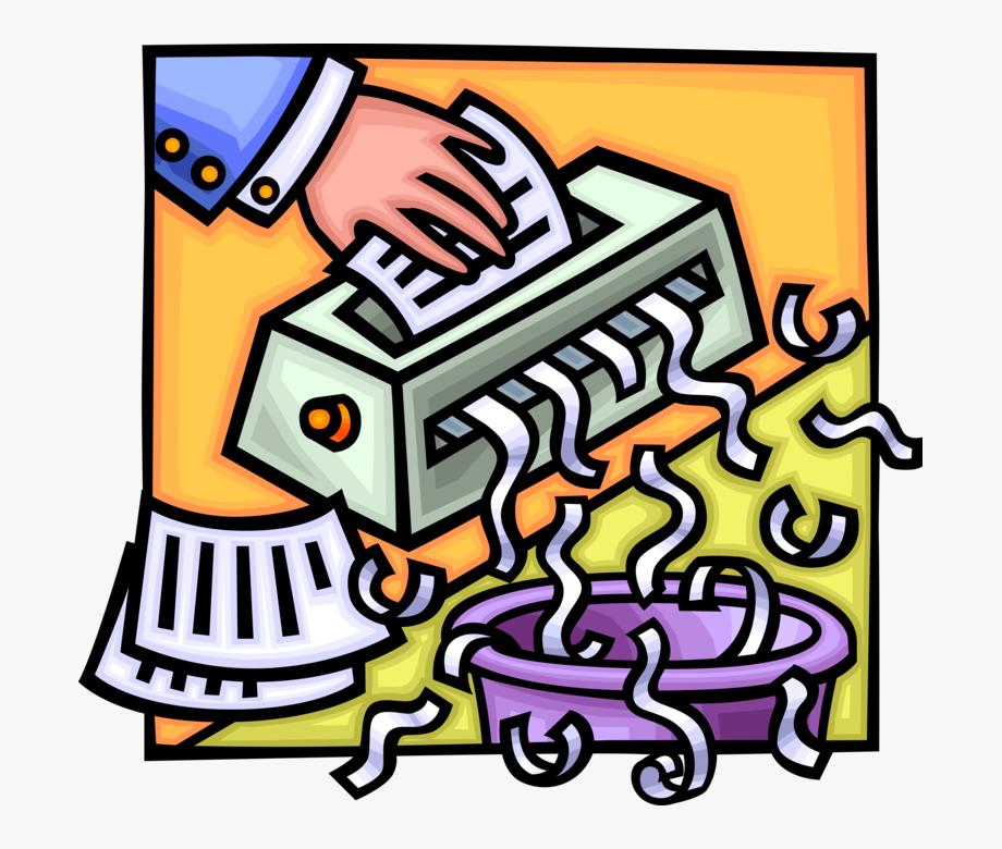 Vector Illustration Of Office Paper Shredder Destroys.
