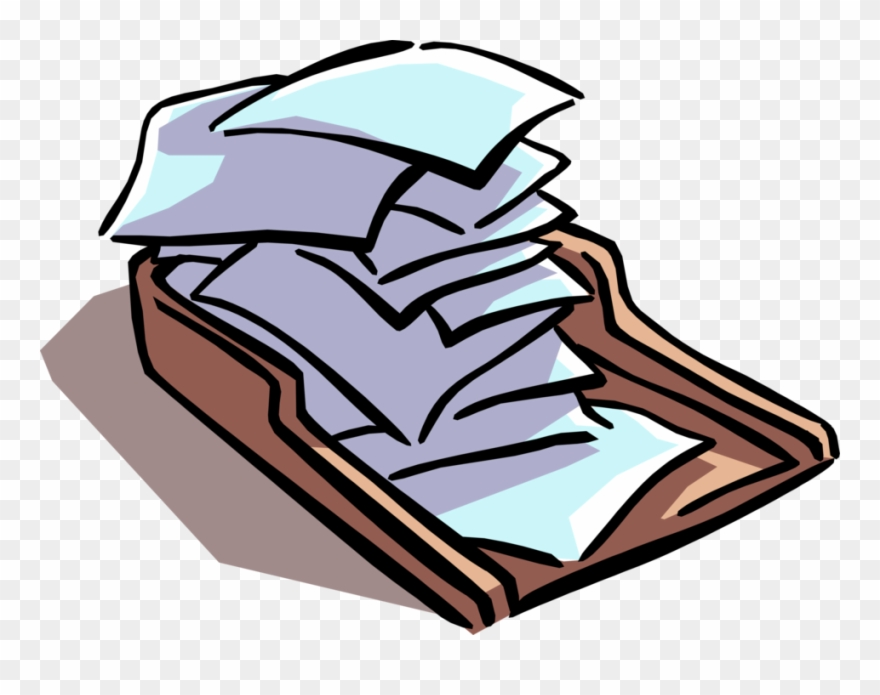 Vector Illustration Of Office Paperwork Piling Up In Clipart.