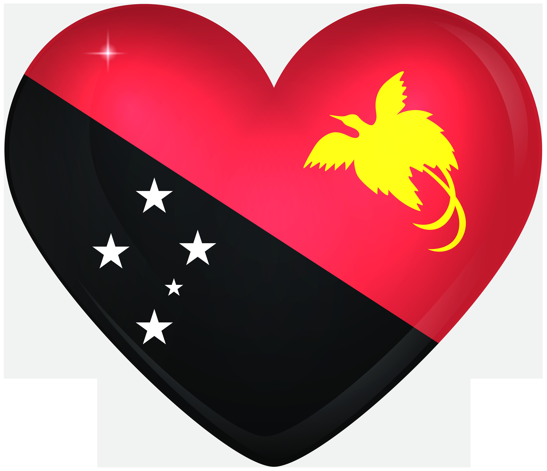 Papua New Guinea Large Heart Flag.
