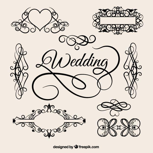 Vector elementos de la boda de la vendimia Vector Gratis.
