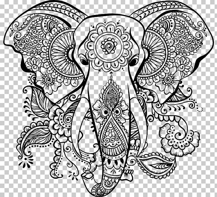 Mandala Coloring book Elephantidae AutoCAD DXF, Mandala.