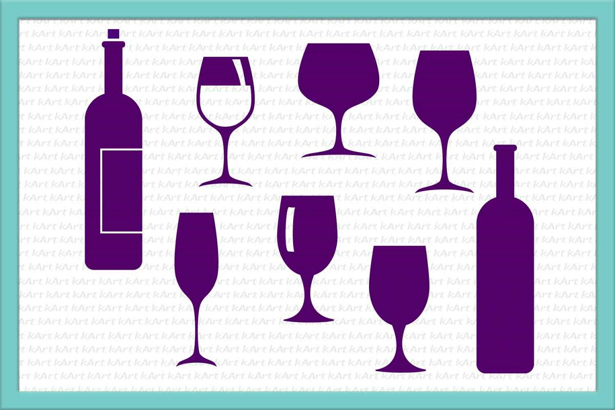 Bundle wine glasses svg dxf cutting files clipart.