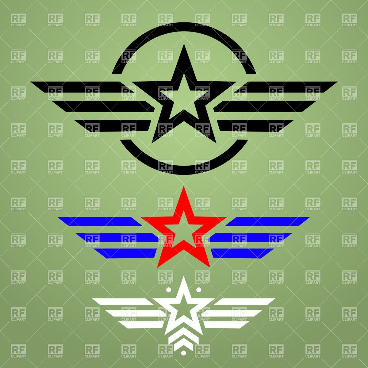 Template of military style emblem with star and wings Stock.