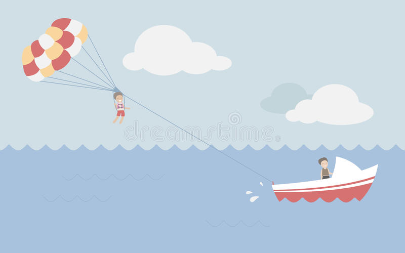 Parasailing Summer Stock Illustrations.