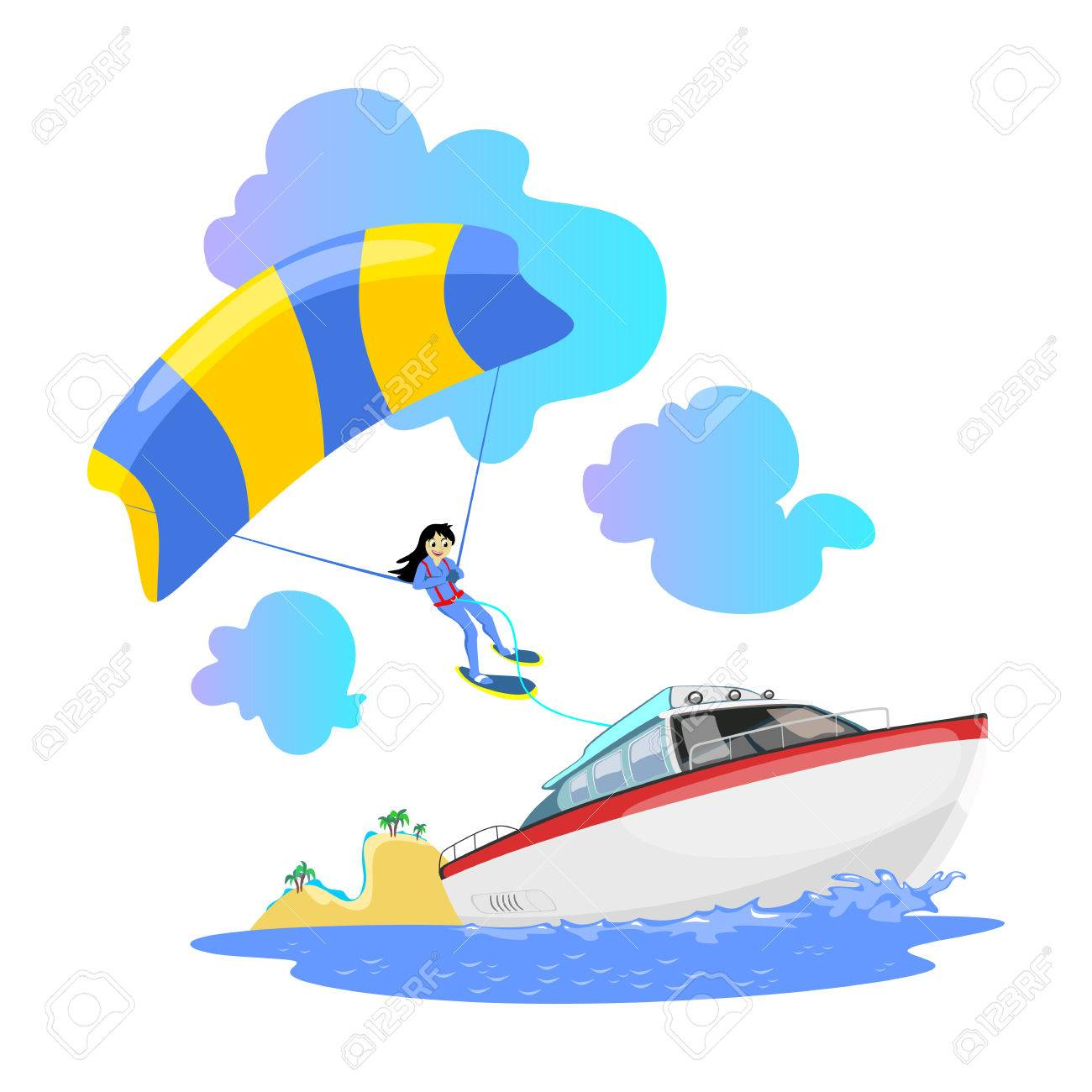 Parasailing water extreme sports backgrounds, isolated design...