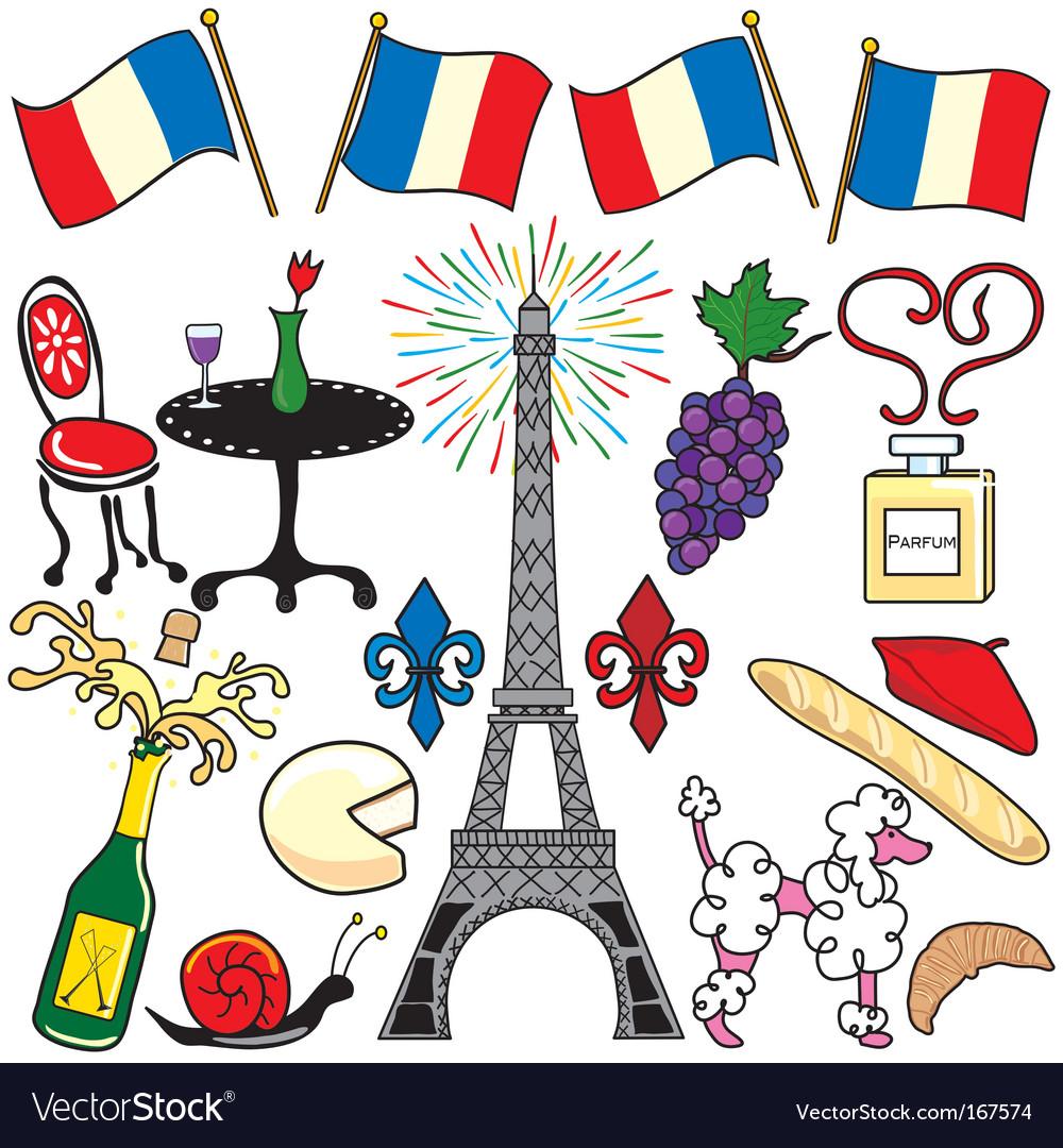 Paris france clipart elements.