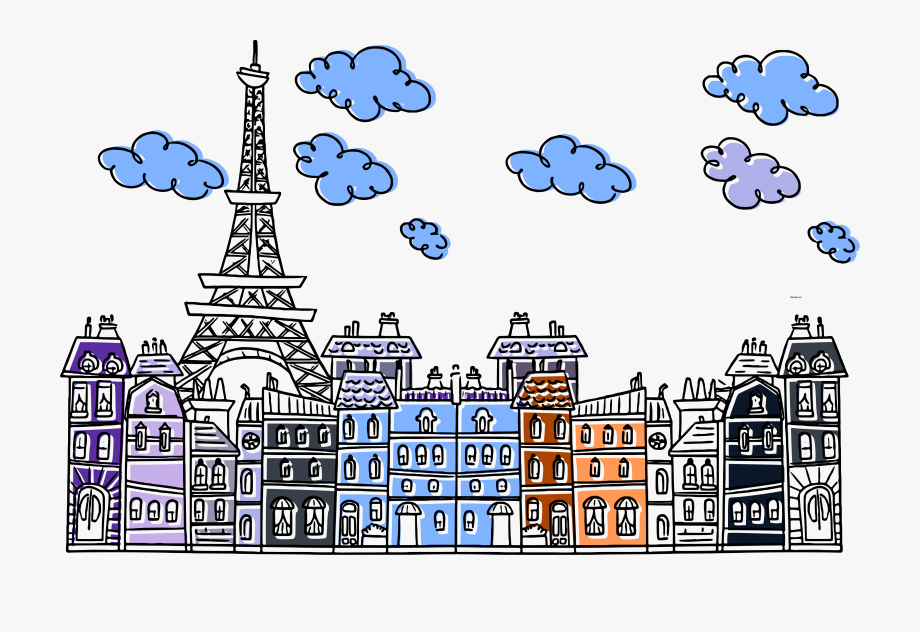 Awesome Paris Eiffel City Cute Drawing Clipart Png.