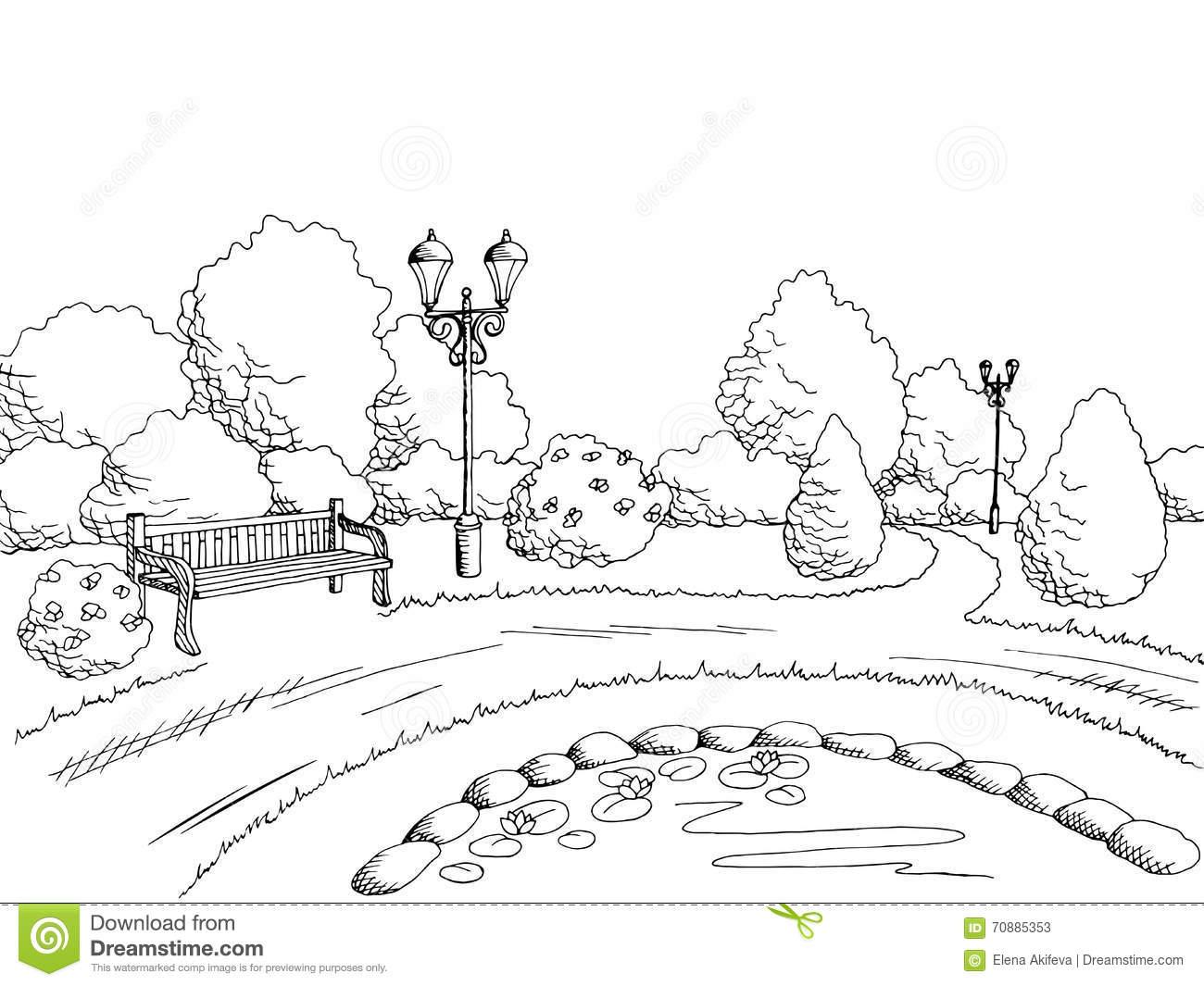 Park Scene Clipart Black And White.