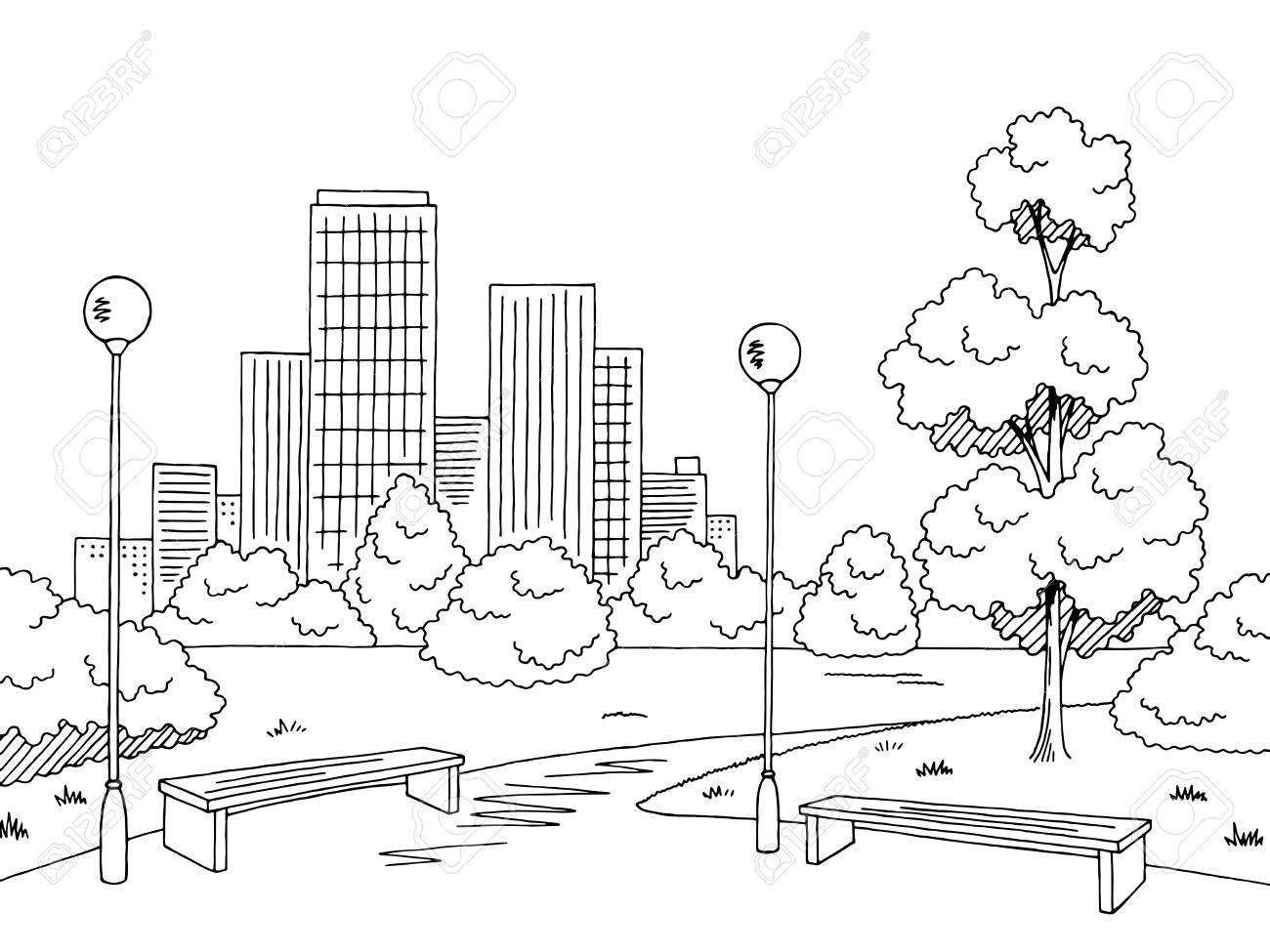 Park black and white clipart 6 » Clipart Station.