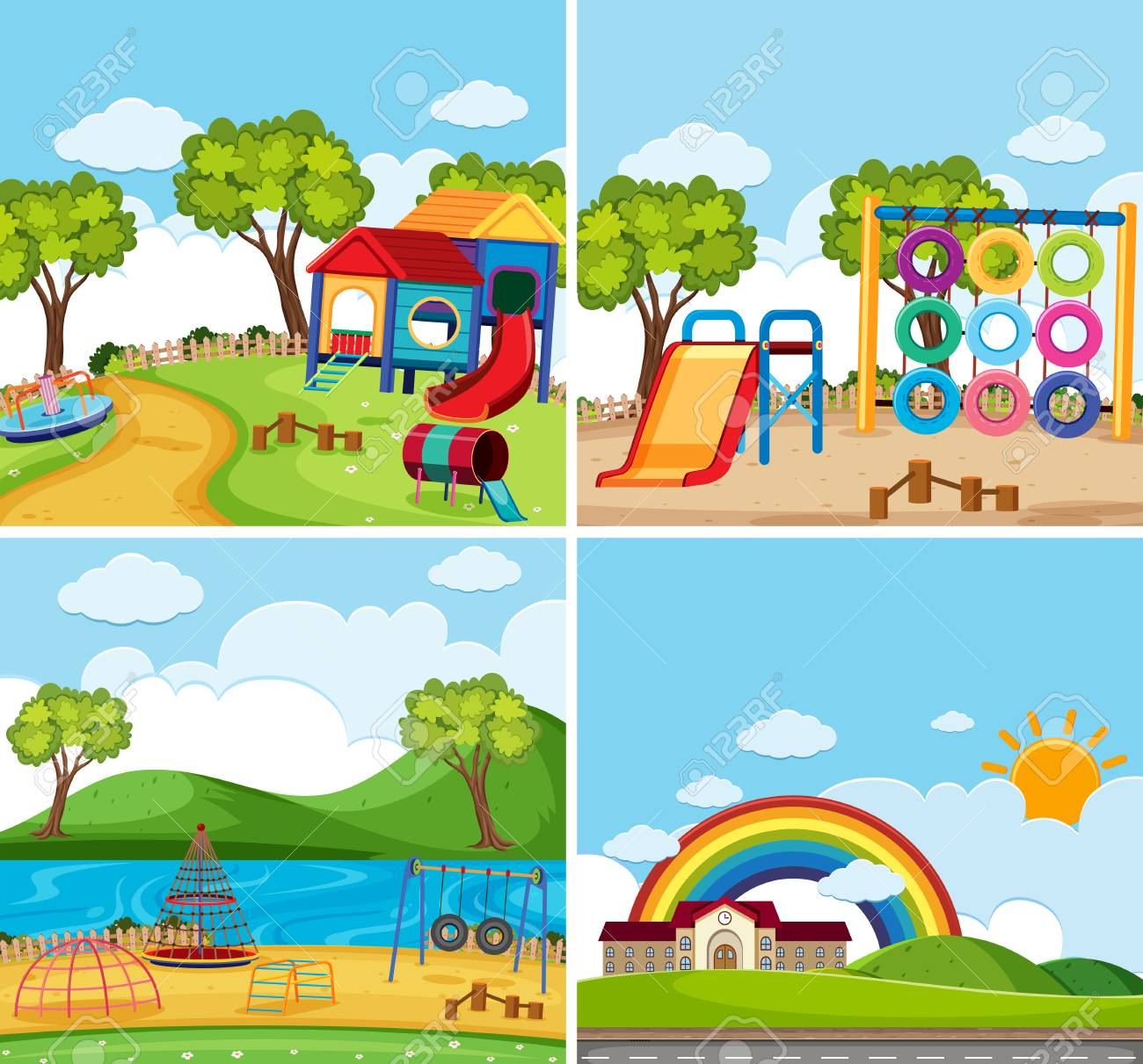 Four background scenes with playground in the park illustration.