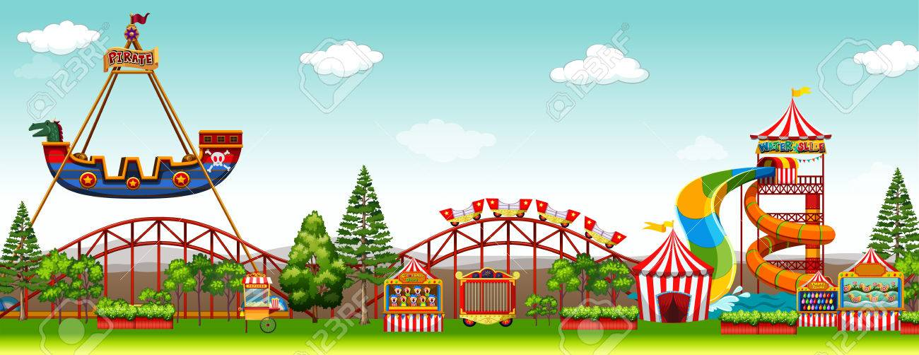 Amusement park scene with rides illustration.
