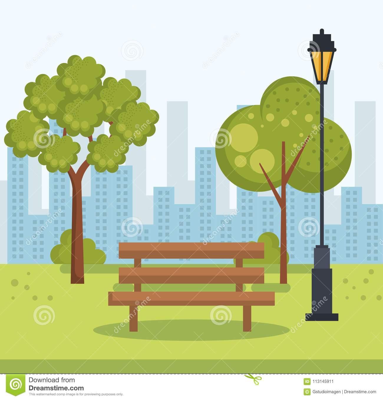 Beautiful Park Landscape Scene Stock Vector.