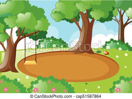 Park scene with swing on the tree.