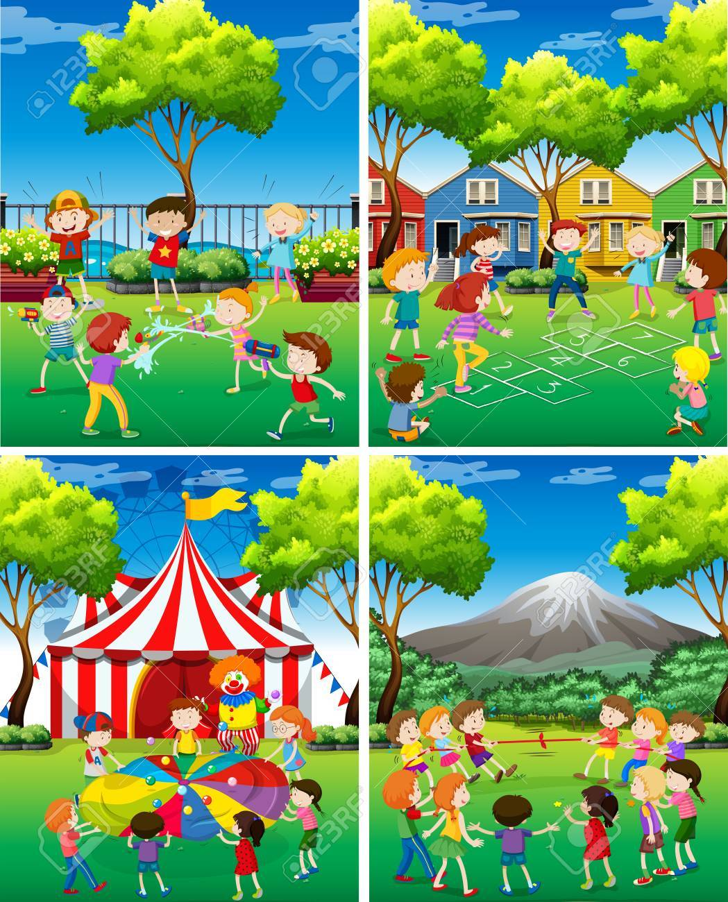 Four scene of children playing in the park illustration.