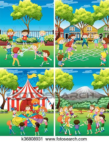 Four scene of children playing in the park Clipart.